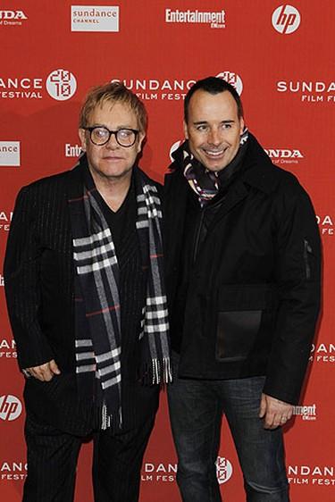 "Elton John (L) and David Furnish arrive for the premiere of the film ""Nowhere Boy"" during the 2010 Sundance Film Festival in Park City, Utah Jan. 27, 2010.  REUTERS/Lucas Jackson"