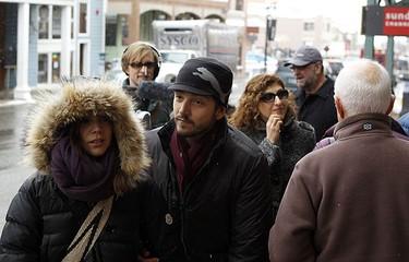 Actor Diego Luna (C) walks down Main Street during the 2010 Sundance Film Festival in Park City, Utah Jan. 26, 2010.  REUTERS/Lucas Jackson