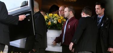 Family and friends said goodbye to little Keagan Davis. (Toronto Sun/Veronica Henri)