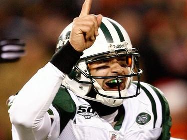 New York Jets quarterback Mark Sanchez celebrates after teammate Thomas Jones scored a touchdown against the Cincinnati Bengals during the third quarter of their NFL AFC wild card playoff football game at Paul Brown Stadium in Cincinnati, Ohio, on Jan. 9, 2010, in Cincinnati. (REUTERS)