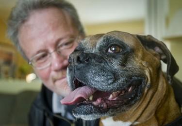 Kevin Eldon poses with his dog Sheena on January 2, 2010.  (Toronto Sun/Ernest Doroszuk)