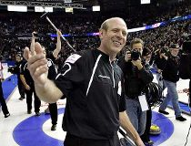Team Martin skip Kevin Martin from Alberta celebrates the 7 to 3 win over Team Howard.  (Jason Franson/ Edmonton Sun)