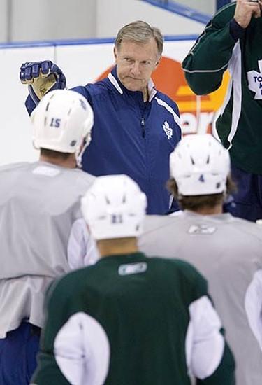 Maple Leafs head coach Ron Wilson on Nov. 20, 2009, puts the Leafs through a tough practice following a loss in Carolina.  (GREG HENKENHAF, Sun Media)