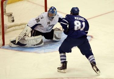 Phil Kessel denied by Tampa Bay goalie, Antero Niittymaki. (Toronto Sun/Craig Robertson)