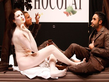 French actress Armelle Lesniak presents a creation at the 15th Salon du Chocolat (Paris Chocolate Show) in Paris October 13, 2009.  (REUTERS)