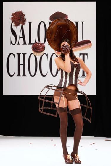 Model Laetitia Rey presents a creation at the 15th Salon du Chocolat (Paris Chocolate Show) in Paris October 13, 2009. (REUTERS)