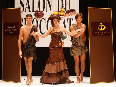 French actress Julie Ferrier (C) presents a creation at the 15th Salon du Chocolat (Paris Chocolate Show) in Paris October 13, 2009.  (REUTERS)