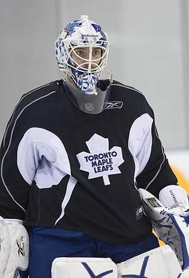 Jonas Gustavsson  during Leafs practice in Toronto, on Oct. 5, 2009. (ALEX UROSEVIC, Sun Media)