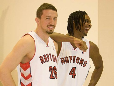 Chris Bosh jokes around with Hedo Turkoglu at Raptors Media Day at the ACC on Sept. 28, 2009. (STAN BEHAL, Sun Media)