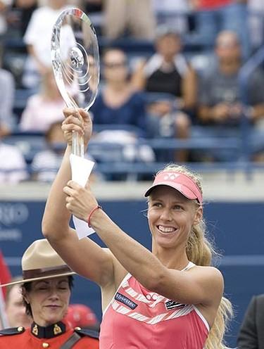 Elena Dementieva (seen here) defeats Maria Sharapova in the finals to win the Rogers Cup in Toronto. (STAN BEHAL/Sun Media)
