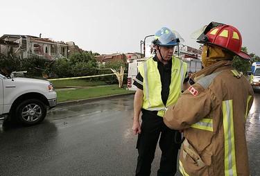 Tornado damage on Houston Road in Vaughan, Ontario. (Photo by John Hanley)