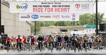 This charity ride raises money for the Heart and Stroke Foundation.  (GREG HENKENHAF, Sun Media)