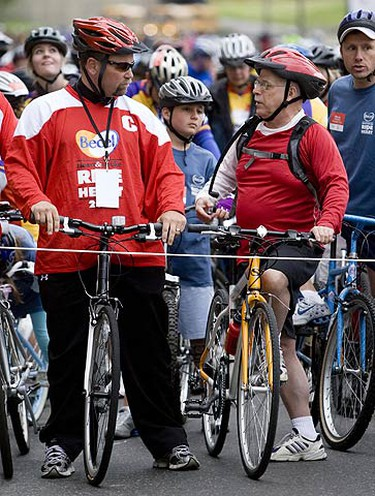 Pictured left is former Maple Leaf captain Wendel Clark at the Annual Becel Heart & Stroke Ride for Heart. (GREG HENKENHAF, Sun Media)