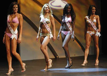 Miss Universe 2009 contestants Kaley Johnson, Lee-Helene Gaulin, Adwoa Yamoaha, Cristina Heslenfeld  look curvy during the bikini competition at the John Bassett Theatre at the Metro Toronto Convention Centre. (JACK BOLAND, Sun Media)