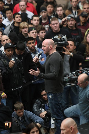 UFC president Dana White talks to the fans. (Toronto Sun/Craig Robertson)