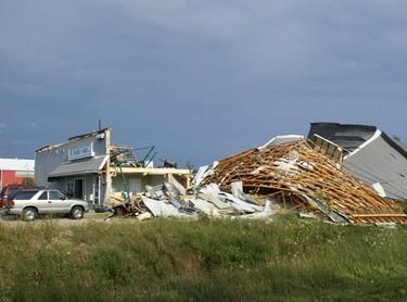 Tornado damage in the town of Durham. (Photo by Brendan Serez)