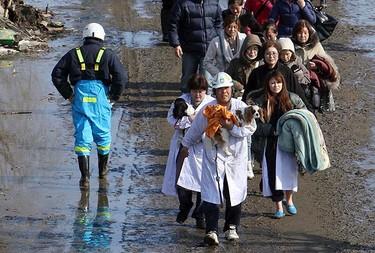 People walk to an evacuation centre in Natori City in Miyagi Prefecture in northeastern Japan on March 12, 2011. (REUTERS/Yomiuri)
