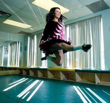 Brampton student Michaela Hinds, 16, demonstrates her Irish dancing techniques at the Butler-Fearon-O'Connor School of Irish Dance on Thursday, May 5, 2011. (ERNEST DOROSZUK/QMI Agency/Toronto Sun)