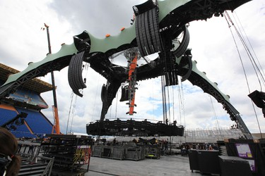 Crews work on the U2 stage at Winnipeg's Canad Inns Stadium on Saturday, May 28, 2011, setting up for Sunday night's concert. (MARCEL CRETAIN/Winnipeg Sun)