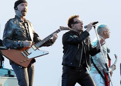 The Edge, Bono and Adam Clayton of U2 perform during their 360 World Tour in Winnipeg May 29, 2011. (BRIAN DONOGH/QMI AGENCY)