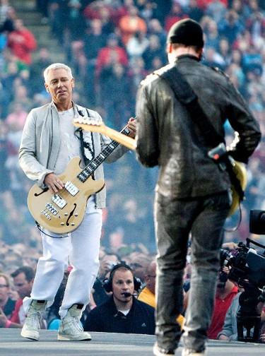 Adam Clayton and The Edge of U2 perform at Commonwealth Stadium in Edmonton, Alta., on Wednesday, June 1 2011. It has been 14 years since U2 played in Edmonton. AMBER BRACKEN/EDMONTON SUN/ QMI AGENCY