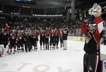 Captain Ryan Keller of the Binghamton Senators celebrate winning the Calder Cup Finals at the Toyota Center in Houston, Texas. THOMAS B. SHEA/QMI AGENCY