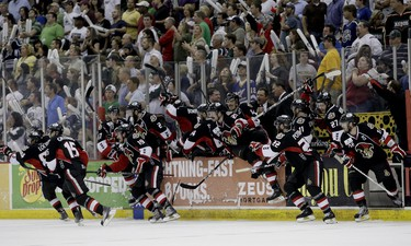 The Binghamton Senators celebrate winning the Calder Cup Finals at the Toyota Center in Houston, Texas. THOMAS B. SHEA/QMI AGENCY