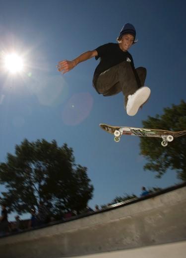 Scott Borkowski, 16, of Etobicoke, flies off a jump at the official opening of the Eighth Street Skate Spot skateboard park in south Etobicoke on July 16, 2011. (JACK BOLAND/Toronto Sun/QMI Agency)