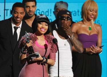 Nicki Minaj accepts best female hip hop artist award at the 2011 BET Awards in Los Angeles June 26, 2011. REUTERS/Mario Anzuoni