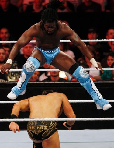 WWE-Raw01 - September 12, 2011 - Kofi Kingston jumps over The Miz during WWE Raw at Scotiabank Place Monday, September 12, 2011. (DARREN BROWN/QMI AGENCY)