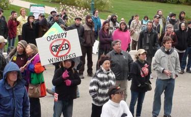Hundreds gathered for the Occupy Winnipeg rally on Saturday. (Jillian Austin/Winnipeg Sun)