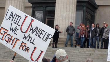 Occupy Winnipeg rally at the Manitoba Legislature. (Jillian Austin/Winnipeg Sun)