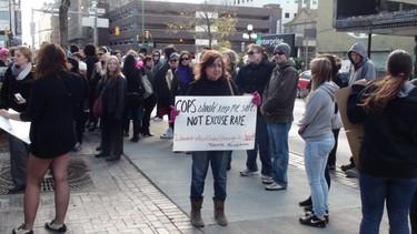 Protesters gathered downtown to take part in Winnipeg's first SlutWalk on Saturday afternoon. (Jillian Austin/Winnipeg Sun)