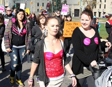 Women march during the Slut Walk in Winnipeg Saturday October 15, 2011. BRIAN DONOGH/WINNIPEG SUN/QMI AGENCY
