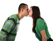 Couple kiss apart