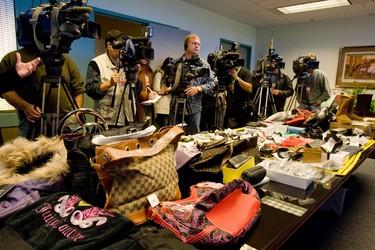 Some of the counterfeit products seized. (DAVE THOMAS/Toronto Sun)