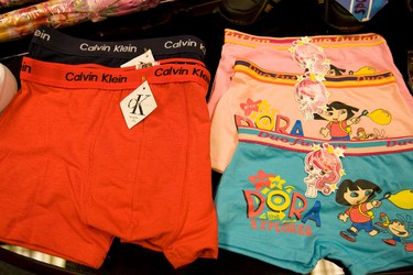 Counterfeit Calvin Klein and Dora underwear. (DAVE THOMAS/Toronto Sun)