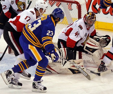Ottawa Senators goalie Craig Anderson makes a save during second period NHL hockey action at Scotiabank Place November 5, 2011.   Tony Caldwell/Ottawa Sun/QMI Agency