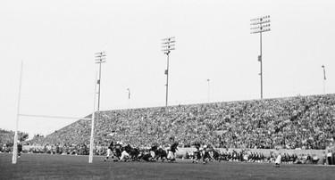 Football action at Winnipeg Stadium in 1958. (Archives of Manitoba: Winnipeg Buildings-General-Winnipeg Stadium #5) Photo ARCHIVES OF MANITOBA/11/17/11