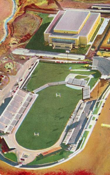Overhead schematic of Winnipeg Stadium and Winnipeg Arena from 1958. (Archives of Manitoba: Barbara Johnstone Collection #83) Photo ARCHIVES OF MANITOBA BARBARA JOHNSTONE COLLECTION/11/17/11