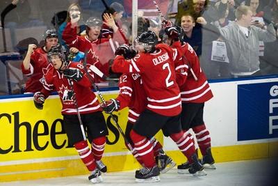 Team Canada players celebrate Jaden Schwartz's goal during the third period of the Canada vs. Sweden IIHF World Junior Championship exhibition game at Rexall Place in Edmonton on {year}, December 23, 2011. CODIE MCLACHLAN/EDMONTON SUN QMI AGENCY