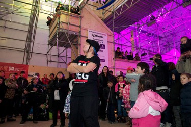 "The Rhythm Speaks break dancing troupe, including Angela ""Lunacee"" Gladue, performed in the community centre at Metropolis in Churchill Square in Edmonton, Alberta, on Dec. 31, 2011. The winter festival kicked off on New Year's Eve. IAN KUCERAK/EDMONTON SUN/QMI AGENCY"