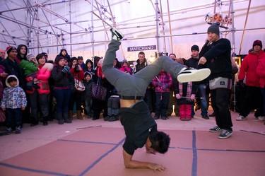 "The Rhythm Speaks break dancing troupe, including Sean Paul ""Pharush"" Arceta and Matthew ""Creeasian"" Wood, performed in the community centre at Metropolis in Churchill Square in Edmonton, Alberta, on Dec. 31, 2011. The winter festival kicked off on New Year's Eve. IAN KUCERAK/EDMONTON SUN/QMI AGENCY"