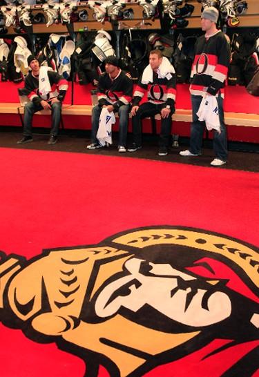 Toronto Blue Jays JP Arencibia,  Ricky Romero, Brett Lawrie and Casey Janssen got a chance to visit the Ottawa Senators dressing room after they defeated the Flyers Sunday January 8, 2011.  Tony Caldwell/Ottawa Sun/QMI Agency