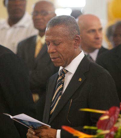 Grenada's Prime Minister Tillman Thomas attended the funeral Monday, January 9, 2012. CHRIS DOUCETTE/TORONTO SUN