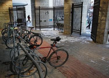 The New bike parking cage at Ottawa City Hall cost $45,000. Bikes parked at Ottawa City Hall Wednesday January 18,  2012.   Tony Caldwell/Ottawa Sun/QMI Agency