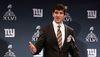 Giants quarterback Eli Manning during Monday's Super Bowl press conference. (REUTERS)