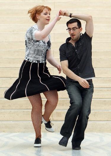 Husband and wife dance partners Tyrel Brochu and Shannon Brochu swing dance in Edmonton City Hall, during the Sunday Swing 'N' Skate event, Sunday Feb. 5, 2012.  BLOOM EDMONTON SUN  QMI AGENCY