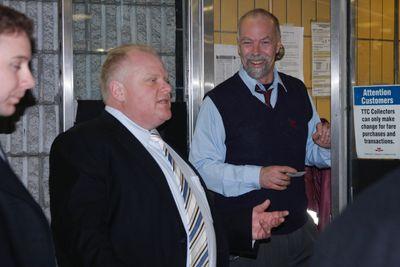 Mayor talks with TTC workers Feb. 8, 2012. (Joe Warmington/Toronto Sun)