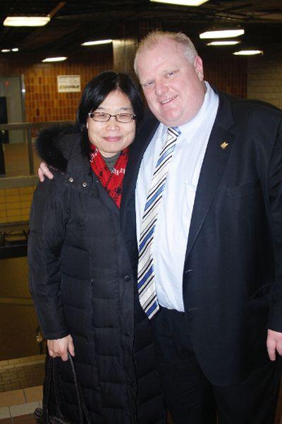 Ford chats with Jennifer Zhao Feb. 8, 2012. (Joe Warmington/Toronto Sun)